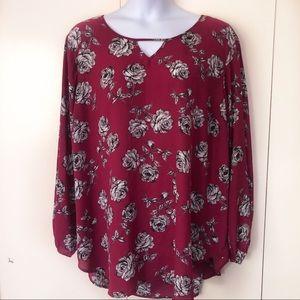 Torrid Womens Blouse 5X Long Sleeve Scoop V Roses